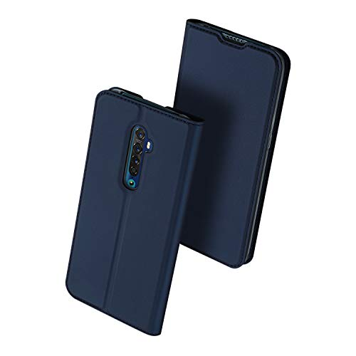 Custodia Ultra Thin PU TPU Flip Case with Card Slot and Stand Function Compatible for Oppo Reno 2(Dark Blue)