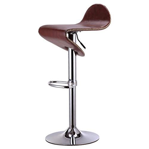 Trona de bar/cafetería/silla giratoria/taburete para la recepción/silla de bar para joyas, altura regulable, rotación de 360°, remaches - Fashion Joker (color: marrón) marrón