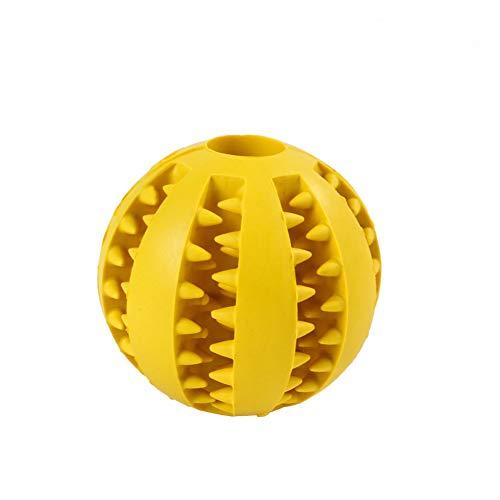 AHAQ Hundespielzeugball, ungiftiger, bissfester Ball, Hundesnack-Feeder, Haustierzahn-Reinigungsball, Haustier-Spielball IQ-Trainingsball,Gelb,Small