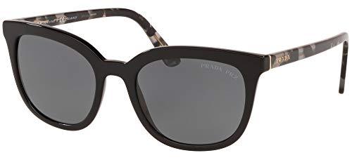 Prada 0PR 03XS Gafas, Negro/Negro/Gris Polarizado, 53 para Mujer