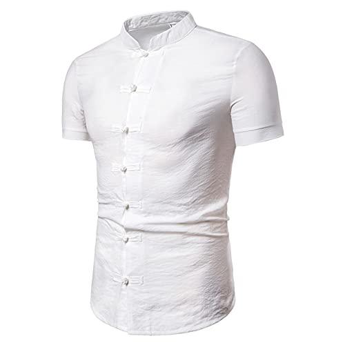 SSBZYES Camisa para Hombre Camisa De Verano con Cuello Levantado Camisa De Algodón Y Lino De Color Liso...