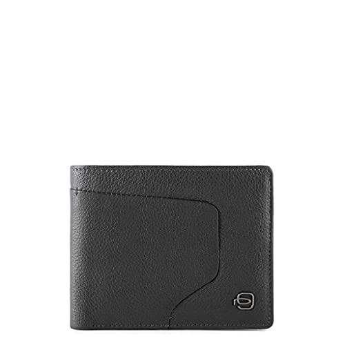 piquadro Portafoglio uomo con tasca portamonete chiusa da zip e protezione anti-frode RFID (nero)