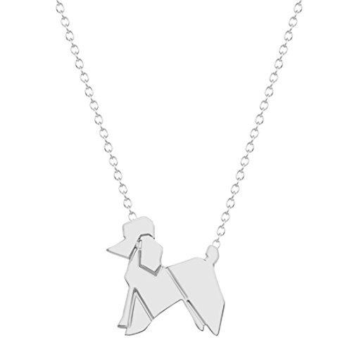 Plata o Dorado Origami–Collar de perro, caniche perro encanto collar, Origami caniche colgante...