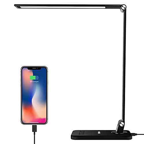 MEIKEE LED Desk Lamp, 12W Aluminum Dimmable Table Lamp with 12V/2A Adapter, 5 Lighting Models with 8...