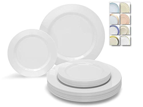 OCCASIONS 120 Plates Pack60 Guests Heavyweight Premium Wedding Party Disposable Plastic Plates Set -60 x 105 Dinner  60 x 75 SaladDessert Plain White