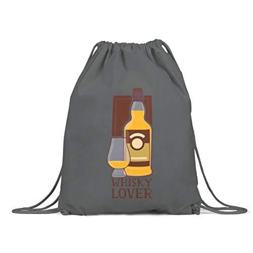 BLAK TEE Whisky Lover Organic Cotton Drawstring Gym Bag Grey