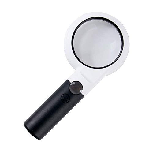 Acai vergrootglas, draagbaar, 5 x 20 x vergrootglas, oude leesloep met LED-lampjes, voor het repareren van stempels, munten, identificatie, vergroting, spiegel, wit Regulable