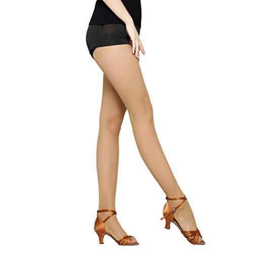 LUOEM Frauen Strümpfe Top hohe Taille professionelle Netzstrumpfhose für Latin Dance (Hautfarbe)