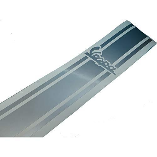 Vespa V50 PK PX GL GT Banner Aufkleber Beinschild in Silber, Ersatzteil Sticker oder als Tank Schriftzug Dekor. Zum Oldtimer Restaurieren von Lack und Verkleidung. Alternativ zum Motorrad Emblem