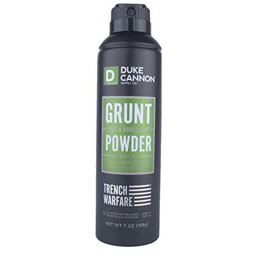 Duke Cannon Supply Co. - Trench Warfare Foot & Boot Spray Powder, Unscented(7 oz) Foot and Shoe Deodorizer, Odor Eliminator to Keep Feet Dry and Friction Free - Scent Eliminator