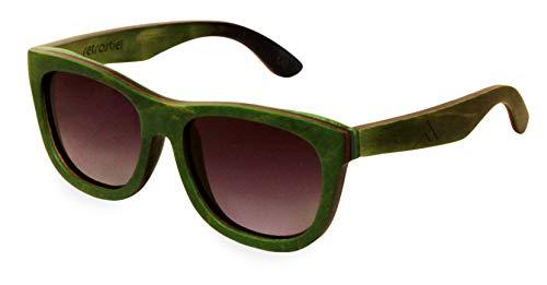 retrostiel Sonnenbrille aus Holz, Skateboard, Holzsonnenbrille (Grün)