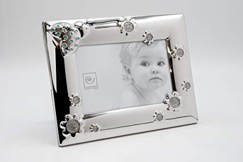 Mascagni, Cornice Portafoto per Bebè, con Cristalli Swarovski Blu Metallizzato, 17 x 22 x 1,5 cm, metallo