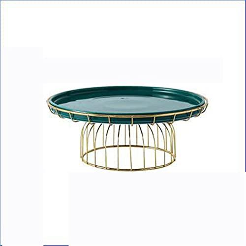 Placa de cerámica nórdica cubierta de cristal transparente bandeja de pastel de hierro forjado vajilla de vajilla fruta bandeja de postre mesa de exhibición Tiempo dulce para la fiesta de té de la tar