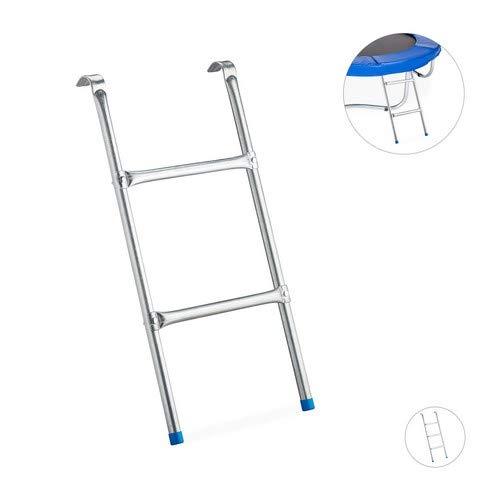 Relaxdays Leiter Trampolin, zum Einhängen, 2 Sprossen, Einstiegsleiter für Gartentrampolin, H x B: 76 x 38 cm, silber