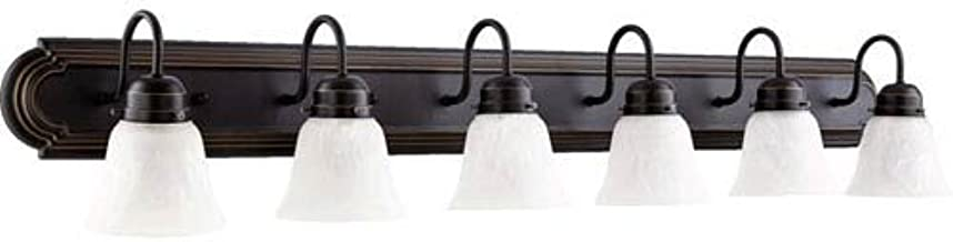 6 Light Vanity Light Finish: Old World, Shade Color: White Faux Alabaster Glass