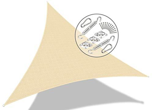VOUNOT Sonnensegel Dreieckig 5x5x5m mit Befestigung Set, Sonnenschutz Atmungsaktiv und UV Schutz, für Balkon, Garten, Terrasse, Elfenbein