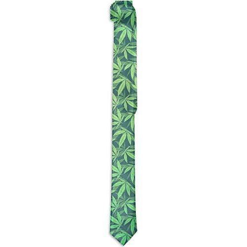 Paedto Corbatas para hombre accesorio para disfraz corbata verde de hierba de marihuana corbata de seda a la moda corbata novedosa para hombres adolescentes nios