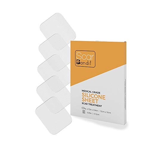Scarbandit Silicone Sheet - Medical Grade Scar Lightening & Flattening Patch - Clear, No Pain Removal - Surgery, Acne, C-Section, Wound Incision Mark Remover - Promotes Collagen & Repair - 10x12cm