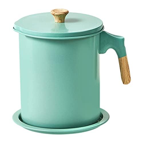 MagiDeal Filtro de aceite Filtro de acero inoxidable con colador Lata de almacenamiento Colador de aceite para cocinar en casa - 1.7L verde