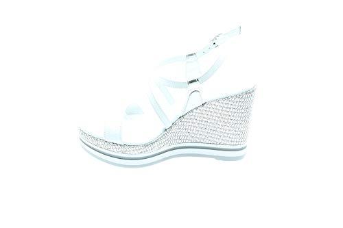 Nero Giardini P908331D/707 Sandali Scarpe Donna Fibbia Tacco Zeppa Bianco Silver (40 EU)