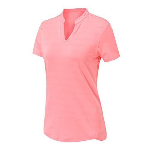 BASUDAM Women's Golf Polo Shirts V-Neck Short Sleeve Collarless Tennis Running T-Shirts Quick Dry Pink M