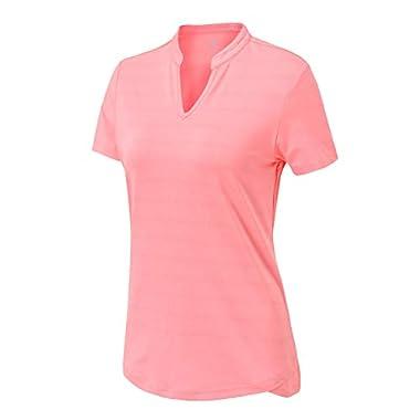 BASUDAM Women's Golf Polo Shirts V-Neck Short Sleeve Collarless Tennis Running T-Shirts Quick Dry