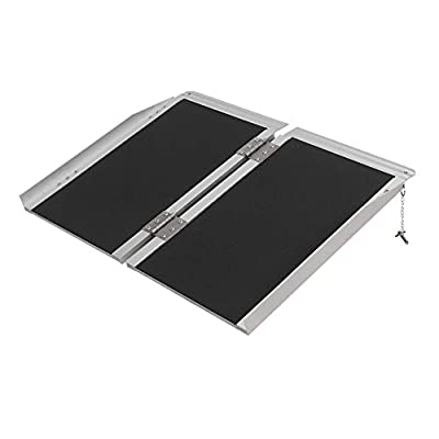 "ZMZ Wheelchair Ramp, Portable Aluminum Alloy Wheelchair Ramp, 800 lbs Weight Capacity (31""W x 24""L)"