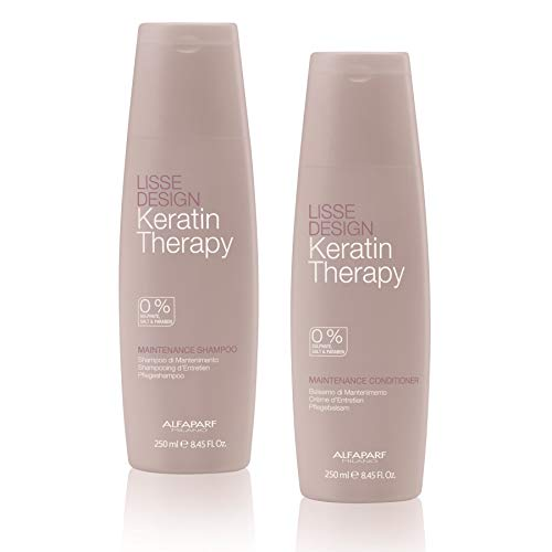 Alfaparf Milano Lisse Design Keratin Therapy Smoothing Shampoo and Conditioner Duo Set - Sulfate Free - Maintains and Enhances Keratin Treatments - Professional Salon Quality