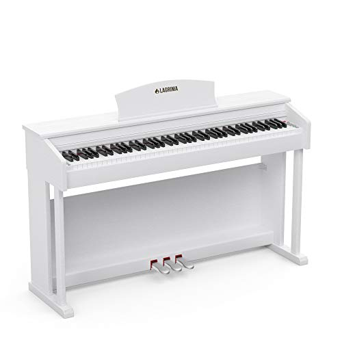 LAGRIMA LG-803 88-Key Weighted Hammer Action Digital Piano with Full-Size Weighted Keys | Muti-functional Piano with 3 Pedals and Bluetooth | Multi-tone Selection - White