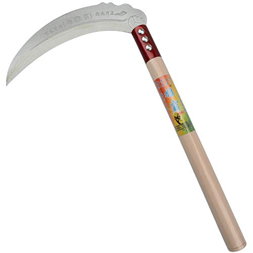 Steel Grass Sickle,Clearing Sickle,Manganese Steel Blade/Hardwood Handle Hand held Sickle Tool...