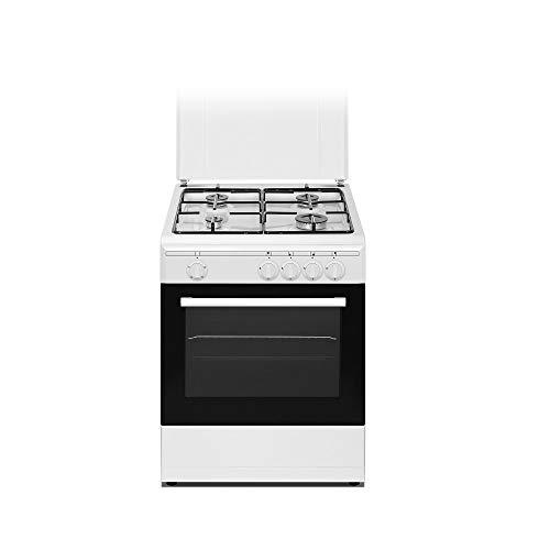 Nikkei SN664WE - Cucina a gas 4 Fuochi con forno elettricocon grill 60x58 cm colore bianco