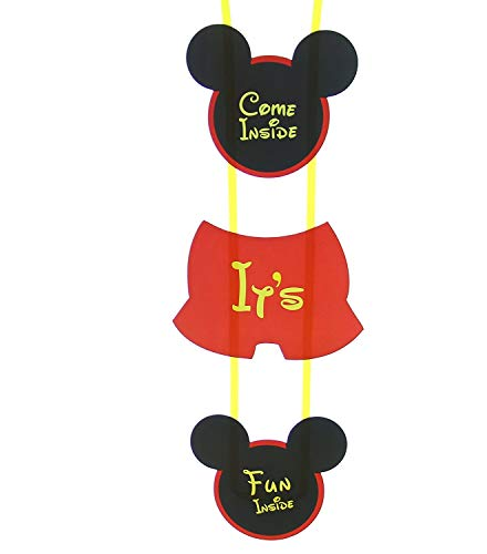 Boston Creative Company Mickey Mouse Inspired Party Supplies   Mickey Mouse Clubhouse Inspired Door Sign   Come Inside It's Fun Inside Birthday Welcome Hange