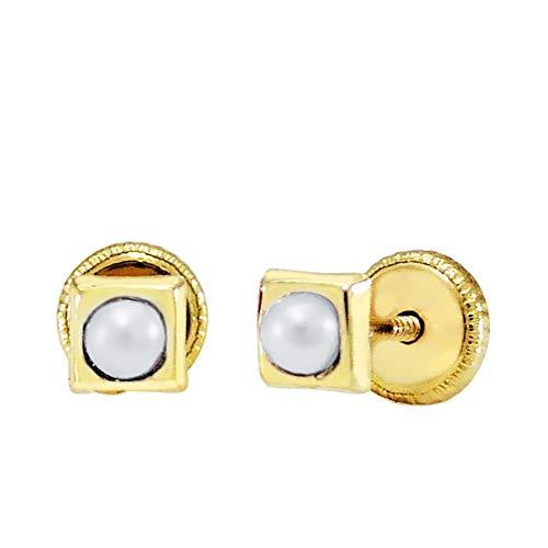 Iyé Biyé oorbellen, parels, voor baby's, meisjes, vierkant, 4 x 4 mm, geelgoud, 18 karaat, schroefsluiting