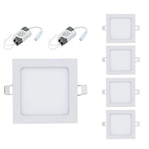 LED Einbaustrahler 10X 6W 230V IP44 Ultraslim Eckig Deckenspot, Warmweiß 3000K, für Wohnzimmer Küchen
