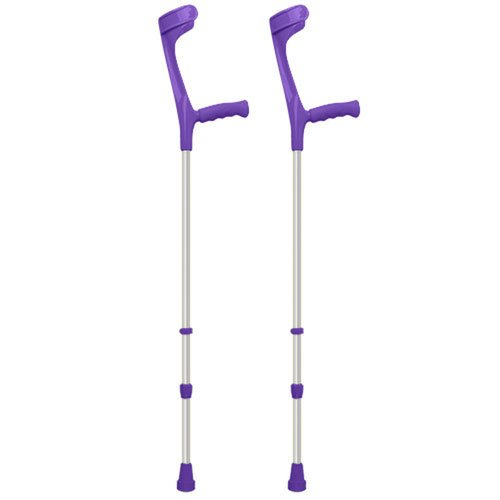 Pair of Open Cuff Height Adjustable Economy Crutches in Purple Colour with...