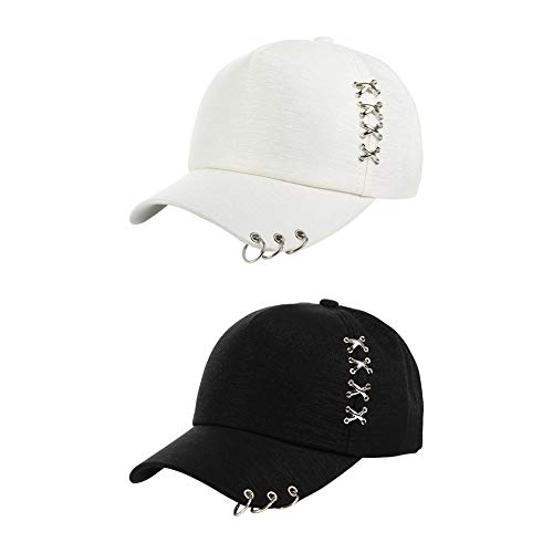 DENGDENG 帽子 2個セット キャップ つば リング ピアス 無地 男女兼用 カジュアル ストリート系 白 黒 UVカット 紫外線 日よけ 速乾 軽薄 通気 釣り ハイキング 登山 旅行
