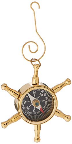 Hampton Nautical Brass Ship Wheel Compass Nautical Christmas Tree Ornament - Nautical Christmas Tree Decoration