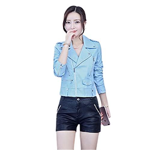 WYKDL Cuero de imitación para Mujer de conducción al Aire Libre, Chaqueta de Motocicleta con cinturón, Adecuado para Vacaciones al Aire Libre,Azul,M