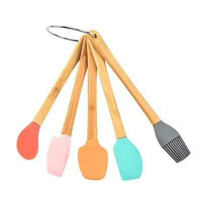 Heych 5 Mini Silikon Küchenhelfer Set BZW. kleine Küchenutensilien mit Griff aus Bamboo zum Kochen und Backen: Für Kinder geeignet, oder für kleine Gläser, Becher, Behälter auskratzen etc.