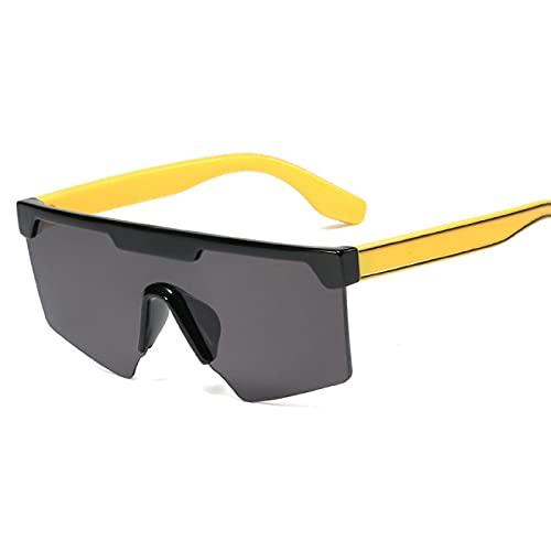 HAOMAO Gafas de sol de gran tamaño con una lente a prueba de viento y espejo vintage para hombres y mujeres, gafas únicas, patas 2