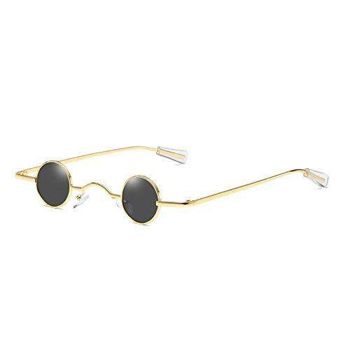 LONG Alloy Steampunk Runde Sonnenbrille für Frauen und Männer Vintage Sonnenbrille Männlich Chic Punk Mini Brille Schwarz Rot Shades-C5