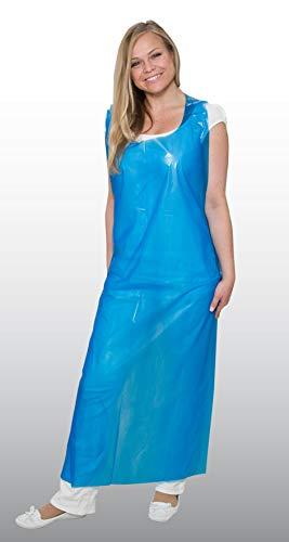 100 Stück Einwegschürze - blau - 75 x 125 cm - aus PE - Einmalschürze - Einweg-Schürze