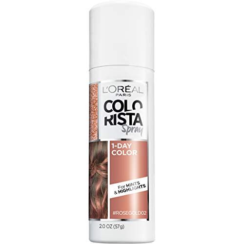 L'Oreal Paris Colorista 1-Day Temporary Hair Color Spray, Rose Gold, 2 Ounces