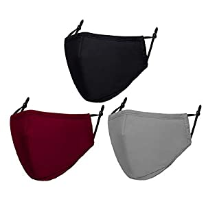 Cloth Face Mask Washable Reusable Adjustable Breathable Face Masks for Women Men Pack of 3 from Doset