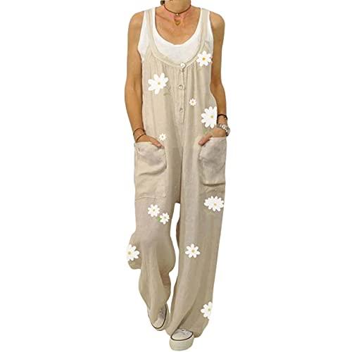 Mono de estilo suelto para mujer, estampado floral, sin mangas, cuello en forma de U, tallas S/M/L/XL/XXL, beige, L