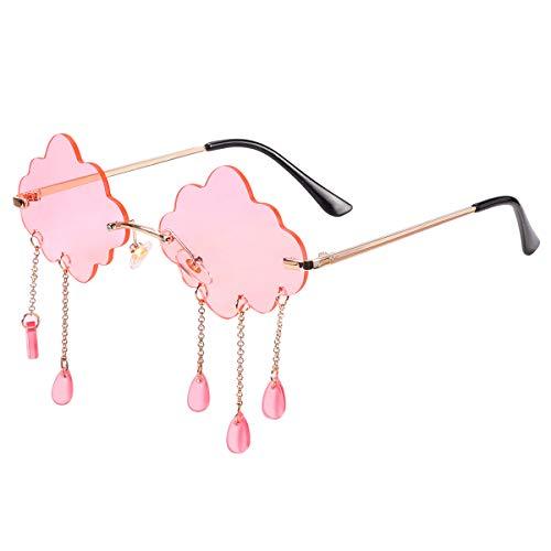 Gafas de sol de moda sin montura para mujer, con borla, a la moda, bonitas gafas de sol, Rosa (Rosado), Medium