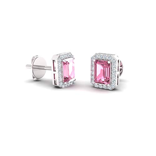 Diamondere Natural and Certified Pink Tourmaline and Diamond Stud Earrings in 14K White Gold | 0.67 Carat Halo Earrings for Women