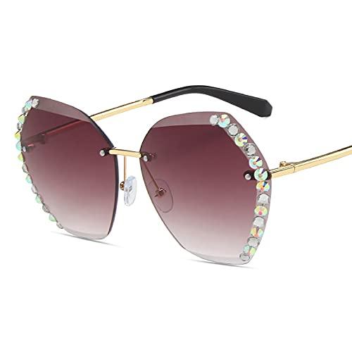 QFSLR Gafas De Sol, Lentes Oceánicos Degradados Poligonales Sin Montura, Gafas De Sol para Mujer, Patillas De Metal, Protección Uv400,D