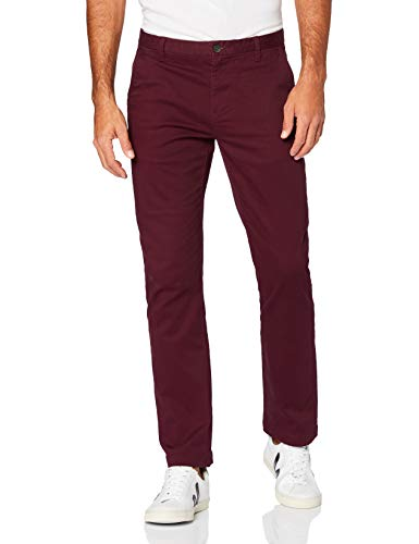 Amazon-Marke: MERAKI Herren Chinohose Slim Fit, Rot (Burgunderrot), 34W / 34L, Label: 34W / 34L