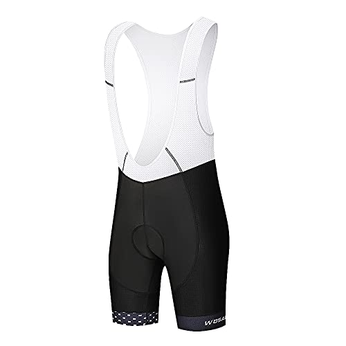 WOSAWE Trägerhose Fahrrad Herren Atmungsaktiv Radhose Mountainbike Shorts mit 4D Sitzpolster (BO158 Schwarz Weiß M)